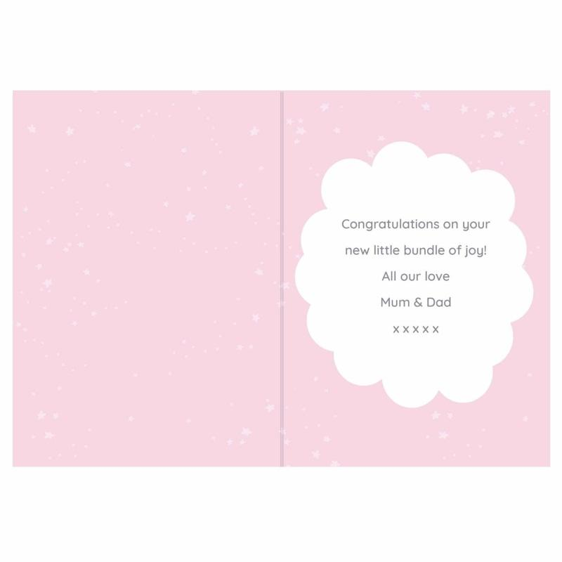Personalised '10 Little Fingers' Pink Baby Card-Personalised Cards-Give Personalised Gifts
