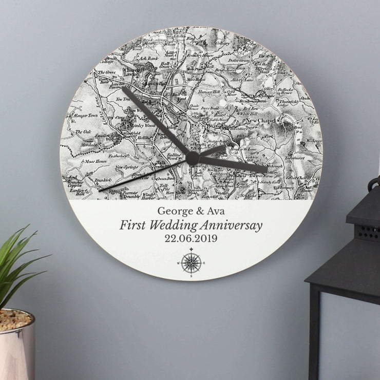 Personalised 1805 - 1874 Old Series Map Compass Wooden Clock-Clock-Give Personalised Gifts