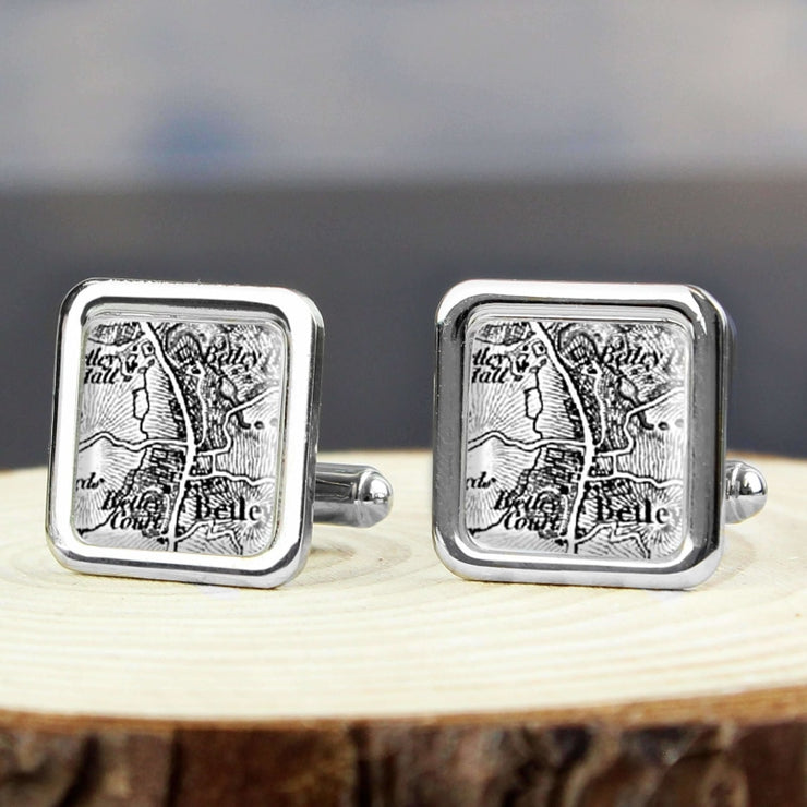 Personalised 1805 - 1874 Old Series Map Cufflinks-Cufflinks-Give Personalised Gifts