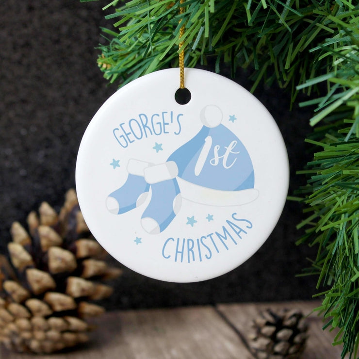 Personalised 1st Christmas Blue Round Ceramic Decoration-Hanging Decoration-Give Personalised Gifts