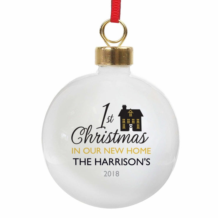 Personalised 1st Christmas in Our New Home Bauble-Bauble-Give Personalised Gifts