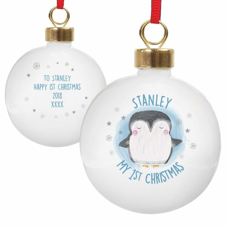 Personalised 1st Christmas Pengiun Bauble-Bauble-Give Personalised Gifts