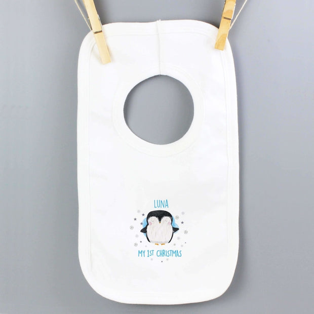 Personalised 1st Christmas Penguin Bib-Baby Accessories-Give Personalised Gifts