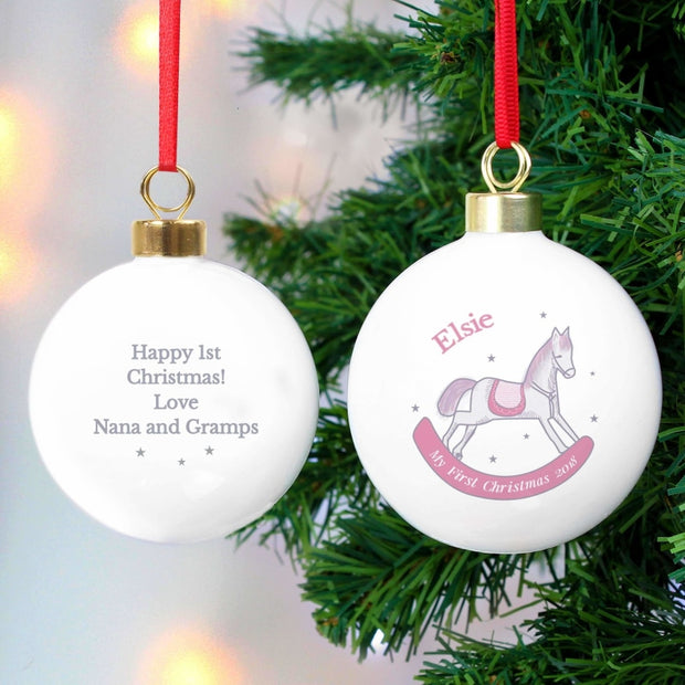 Personalised 1st Christmas Pink Rocking Horse Bauble-Bauble-Give Personalised Gifts
