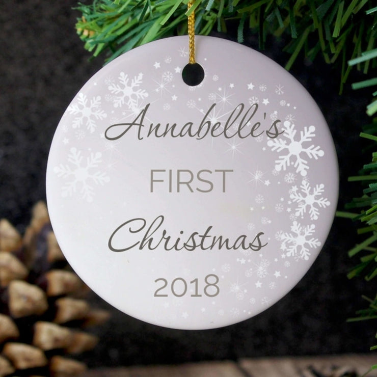 Personalised 1st Christmas Round Ceramic Decoration-Hanging Decoration-Give Personalised Gifts