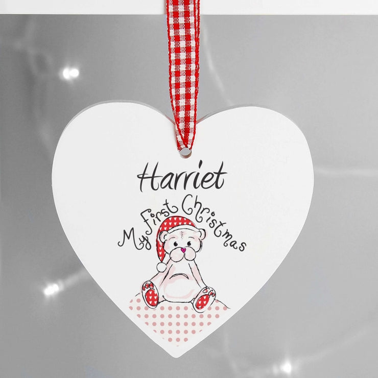 Personalised 1st Christmas Teddy Design Wooden Heart Shaped Decoration-Hanging Decoration-Give Personalised Gifts