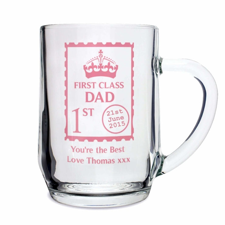 Personalised 1st Class Glass Tankard-Tankard-Give Personalised Gifts