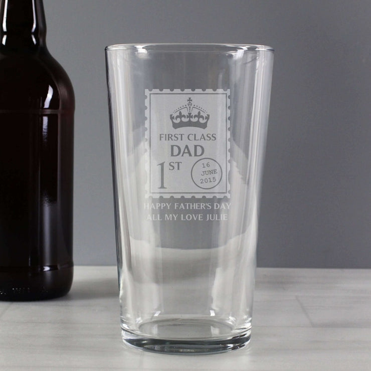 Personalised 1st Class Pint Glass-Glassware-Give Personalised Gifts