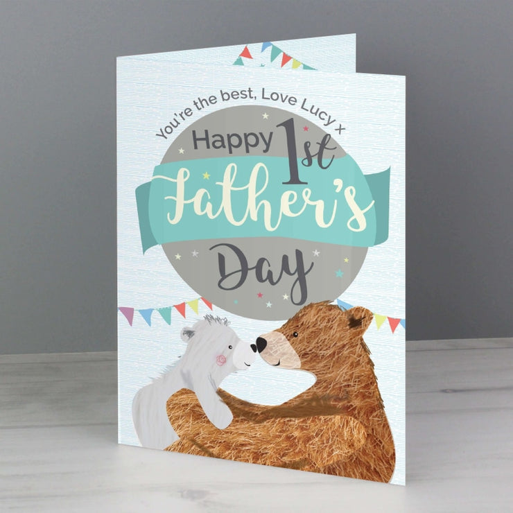 Personalised 1st Father's Day Daddy Bear Card-Personalised Cards-Give Personalised Gifts