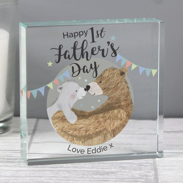 Personalised 1st Father's Day Daddy Bear Large Crystal Token-Crystal Token-Give Personalised Gifts