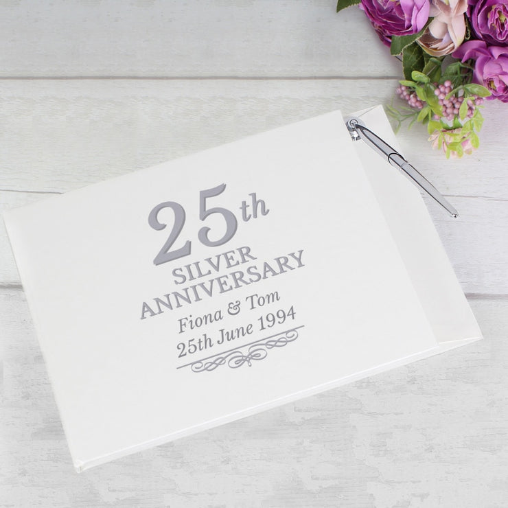 Personalised 25th Silver Anniversary Hardback Guest Book & Pen-Guest Book-Give Personalised Gifts