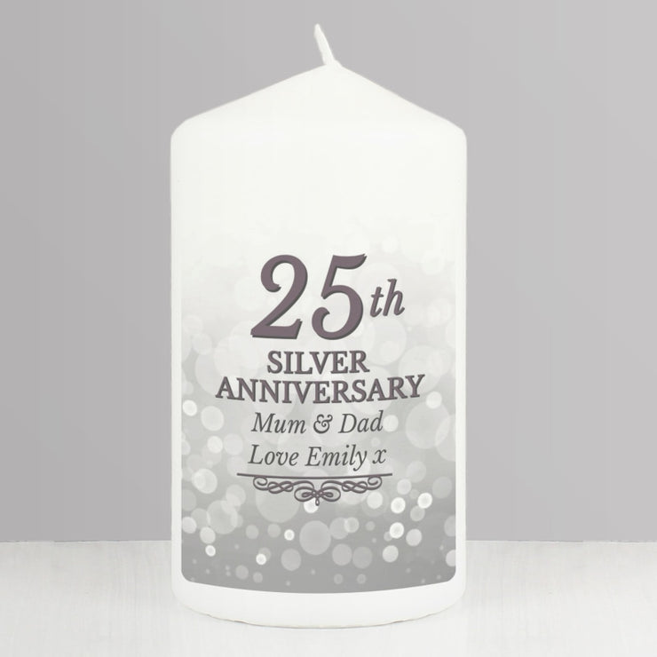 Personalised 25th Silver Anniversary Pillar Candle-Candles & Holder-Give Personalised Gifts