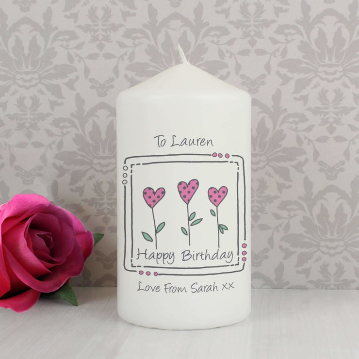 Personalised 3 Hearts Message Candle-Candles & Holder-Give Personalised Gifts