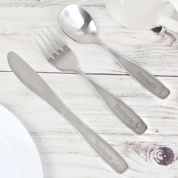 Personalised 3 Piece Hessian Friends Cutlery Set-Cutlery Set-Give Personalised Gifts