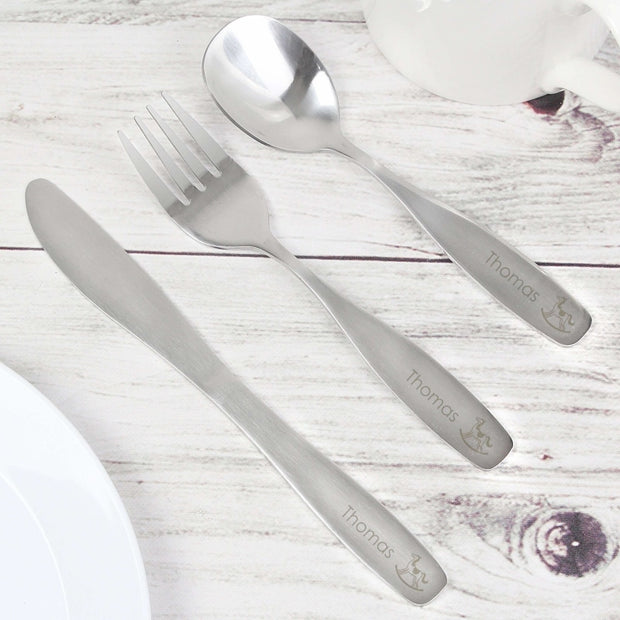 Personalised 3 Piece Rocking Horse Cutlery Set-Cutlery Set-Give Personalised Gifts