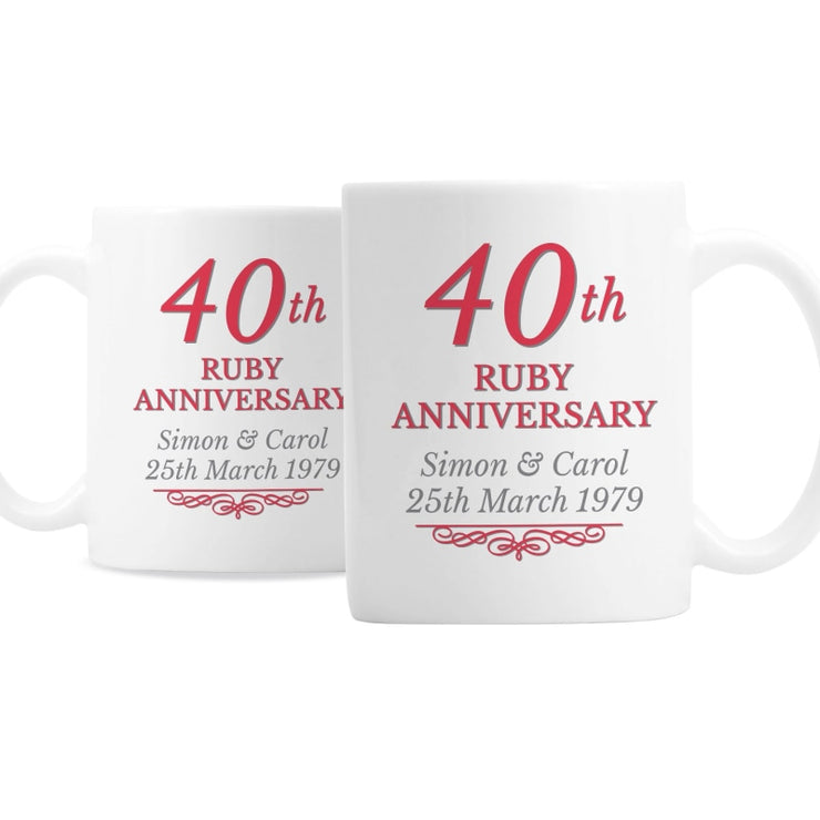 Personalised 40th Ruby Anniversary Mug Set-Mugs-Give Personalised Gifts