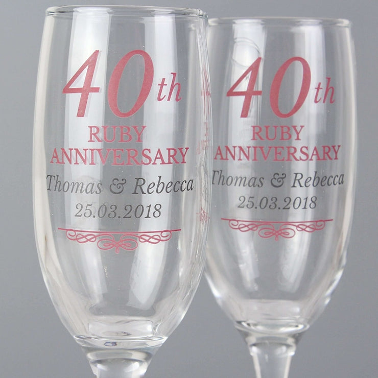 Personalised 40th Ruby Anniversary Pair of Flutes With Gift Box-Flute-Give Personalised Gifts