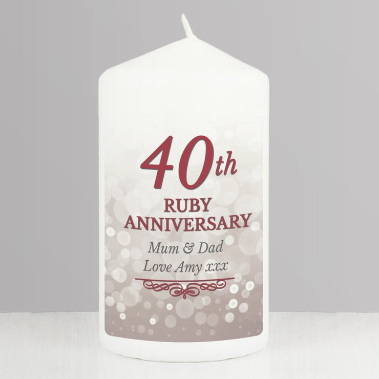 Personalised 40th Ruby Anniversary Pillar Candle-Candles & Holder-Give Personalised Gifts