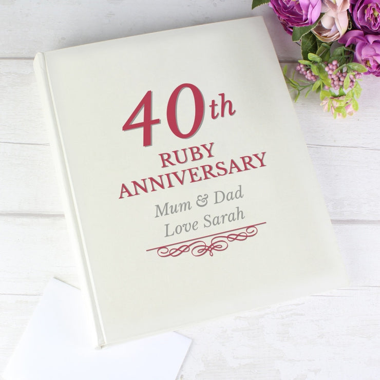 Personalised 40th Ruby Anniversary Traditional Photo Album-Photo Album-Give Personalised Gifts