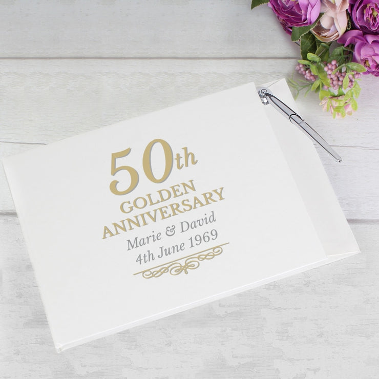 Personalised 50th Golden Anniversary Hardback Guest Book & Pen-Guest Book-Give Personalised Gifts
