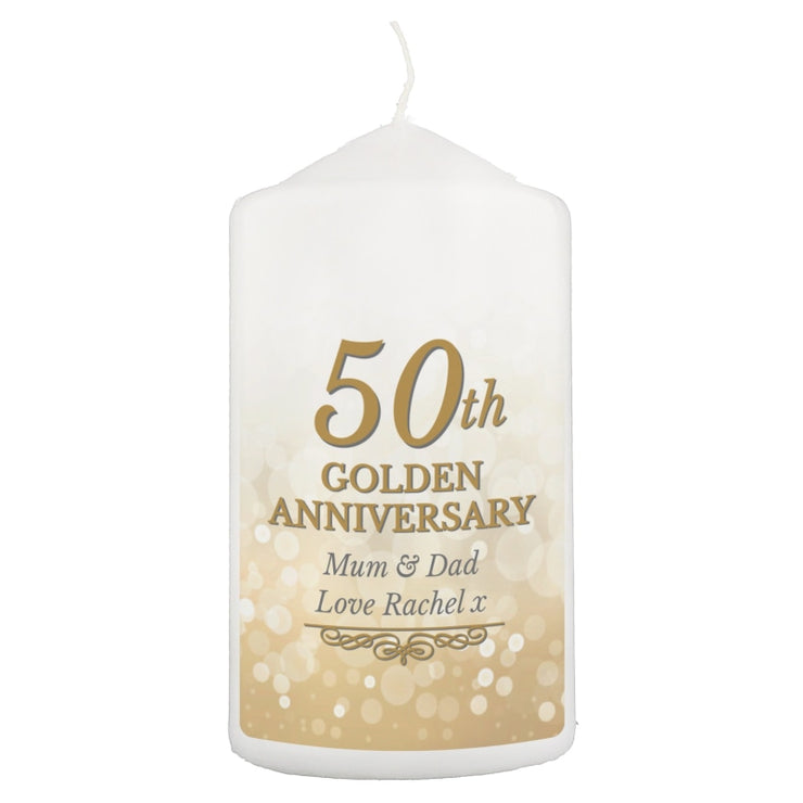 Personalised 50th Golden Anniversary Pillar Candle-Candles & Holder-Give Personalised Gifts