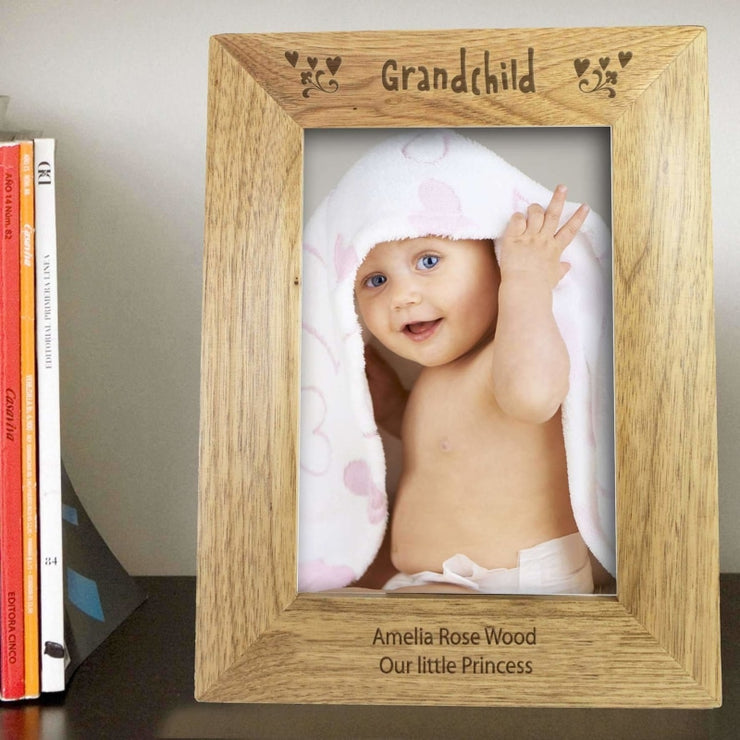 Personalised 5x7 Grandchild Wooden Photo Frame-Photo Frame-Give Personalised Gifts