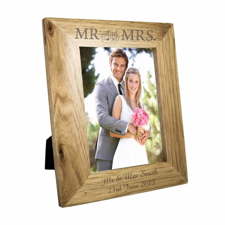 Personalised 5x7 Mr & Mrs Wooden Photo Frame-Photo Frame-Give Personalised Gifts