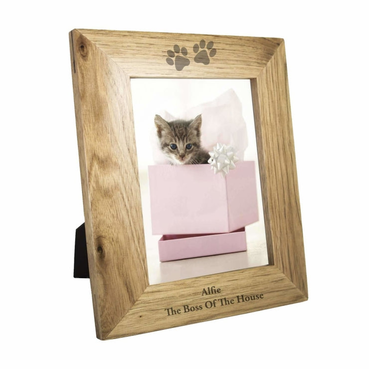 Personalised 5x7 Paw Prints Wooden Photo Frame-Photo Frame-Give Personalised Gifts