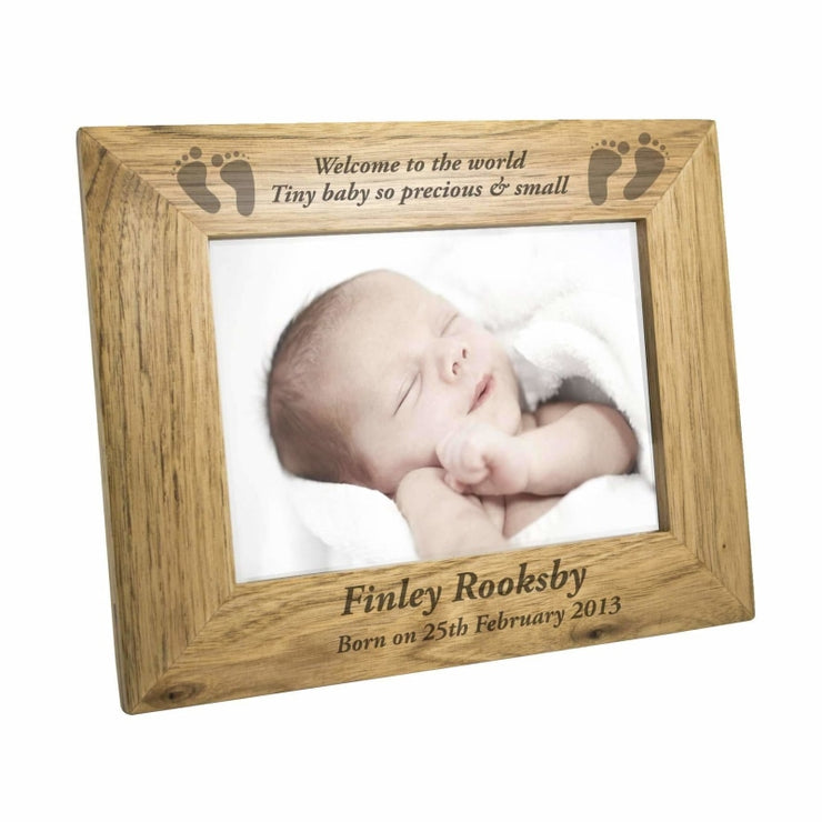 Personalised 7x5 Baby Feet Wooden Photo Frame-Baby Accessories-Give Personalised Gifts