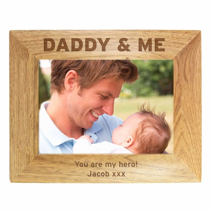 Personalised 7x5 Daddy & Me Wooden Photo Frame-Photo Frame-Give Personalised Gifts