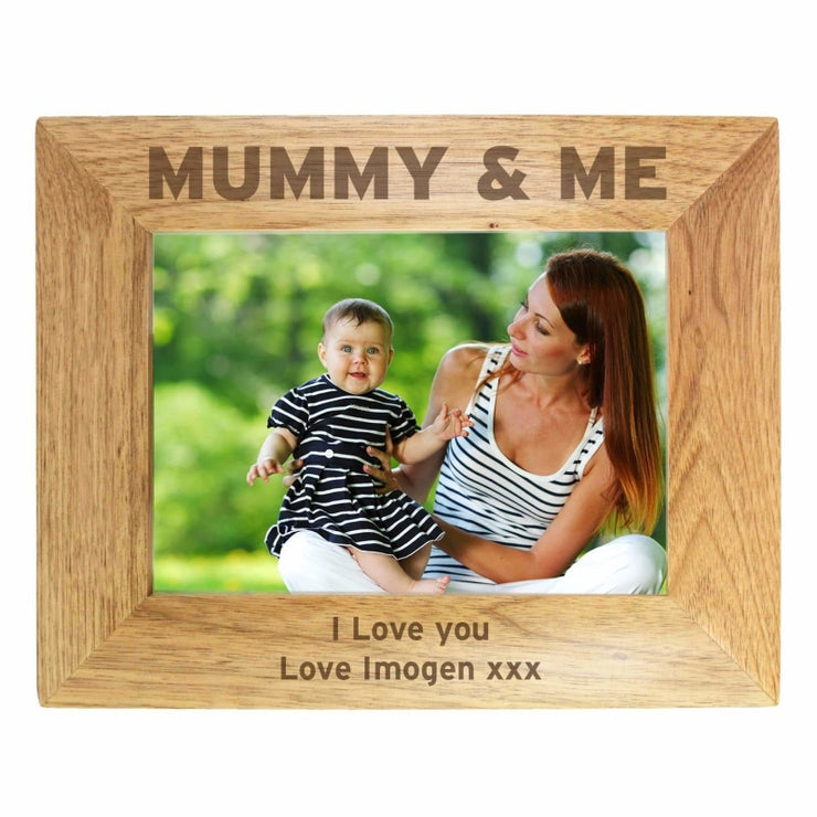 Personalised 7x5 Mummy & Me Wooden Photo Frame-Photo Frame-Give Personalised Gifts