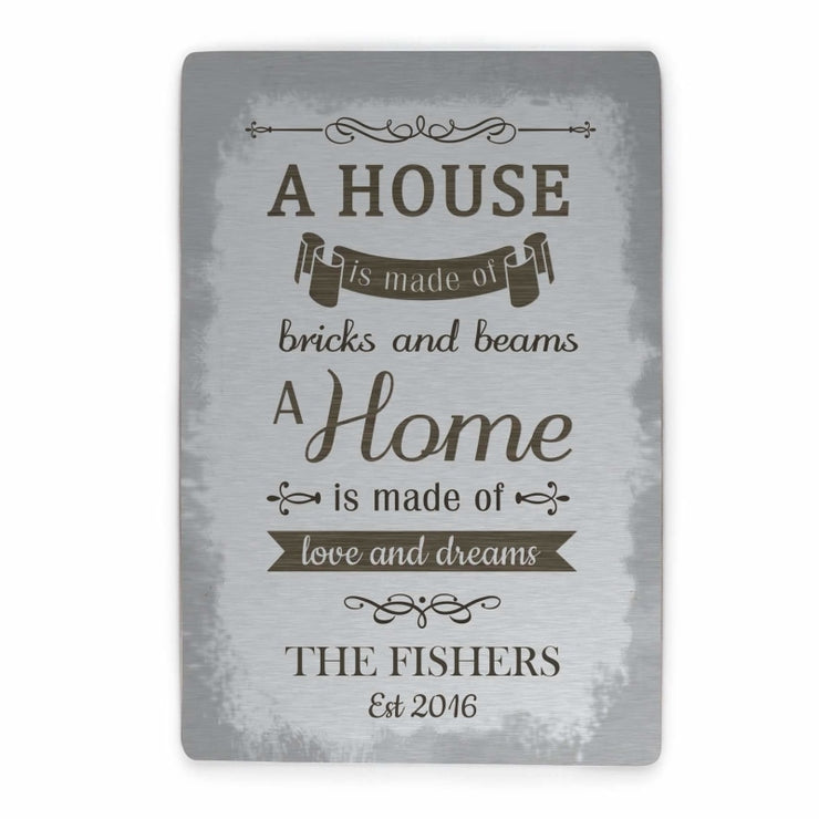 Personalised 'A House Is Made Of...' Metal Sign-Signs-Give Personalised Gifts
