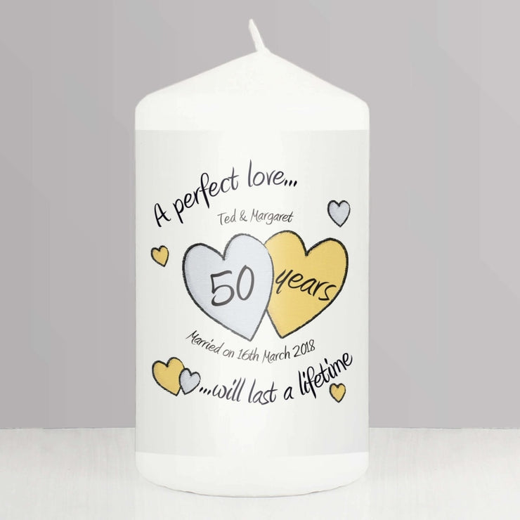 Personalised A Perfect Love Golden Anniversary Candle-Candles & Holder-Give Personalised Gifts