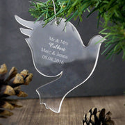 Personalised Acrylic Dove Decoration-Hanging Decoration-Give Personalised Gifts