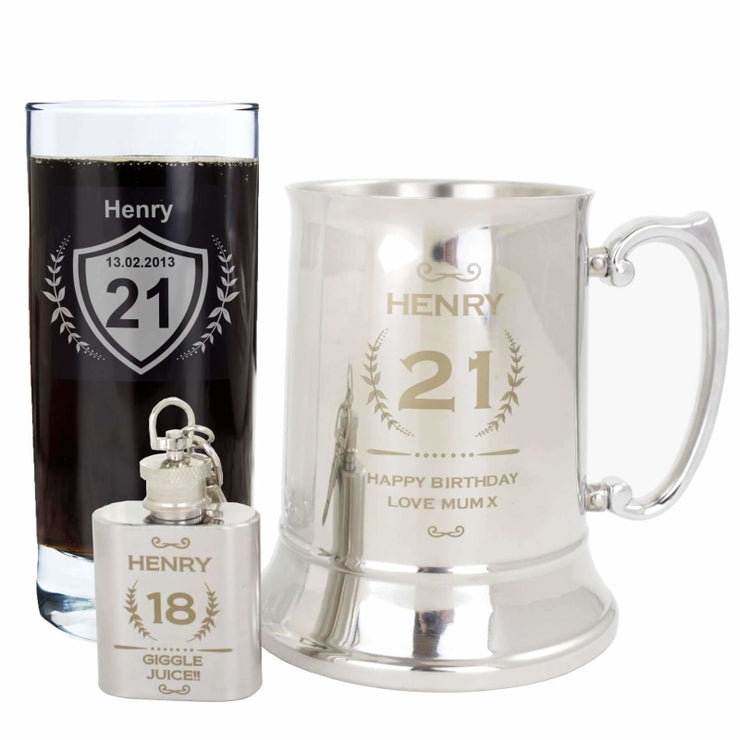 Personalised Age Crest 1oz Hip Flask Keyring-Keyring-Give Personalised Gifts