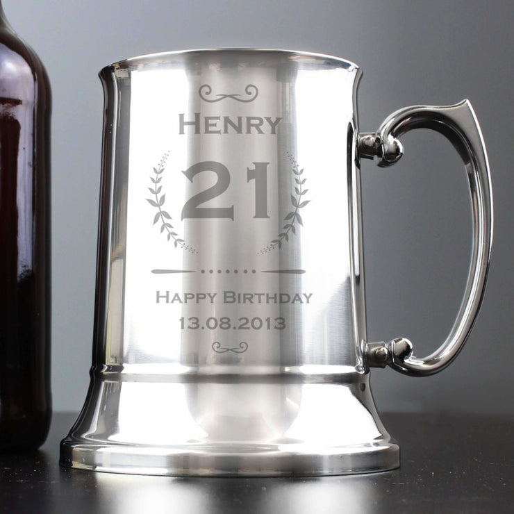 Personalised Age Crest Stainless Steel Tankard-Tankard-Give Personalised Gifts