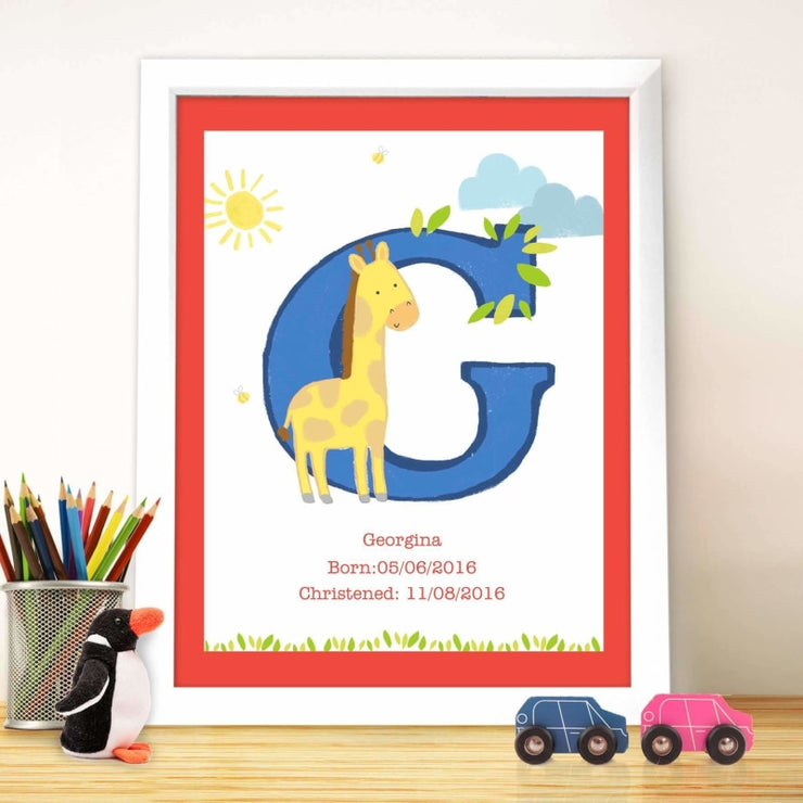 Personalised Animal Initial White Framed Poster Print-Framed Print-Give Personalised Gifts