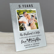 Personalised Anniversary 4x4 Glitter Glass Photo Frame-Photo Frame-Give Personalised Gifts