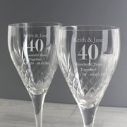 Personalised Anniversary Pair of Crystal Wine Glasses-Glassware-Give Personalised Gifts