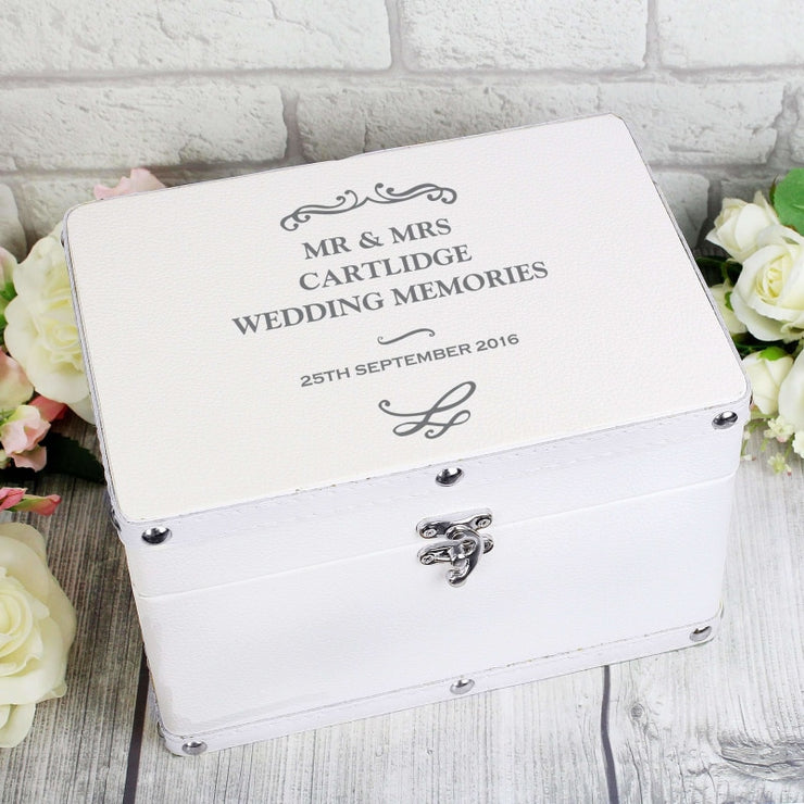 Personalised Antique Scroll White Leatherette Keepsake Box-Keepsake Box-Give Personalised Gifts