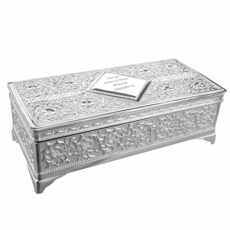 Personalised Antique Silver Plated Jewellery Box-Jewellery Box-Give Personalised Gifts