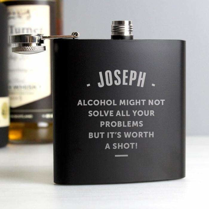 Personalised Any Message Black Hip Flask-Hip Flask-Give Personalised Gifts