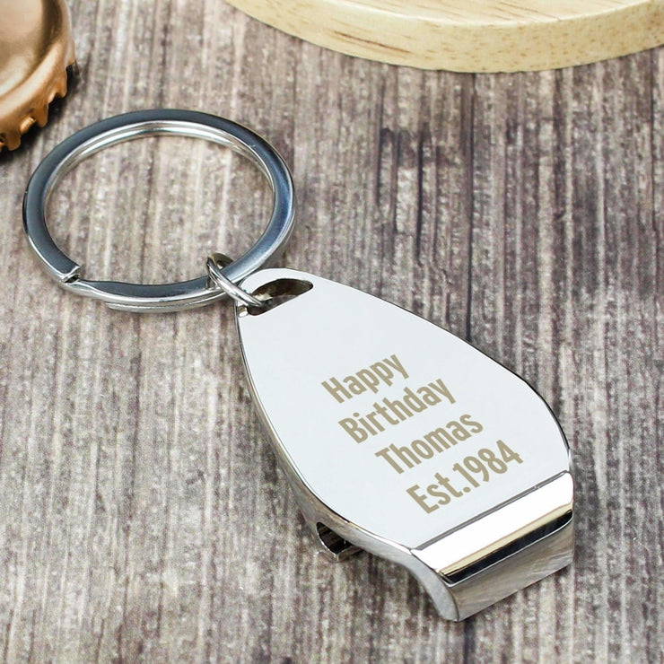 Personalised Any Message Bottle Opener Keyring-Keyring-Give Personalised Gifts