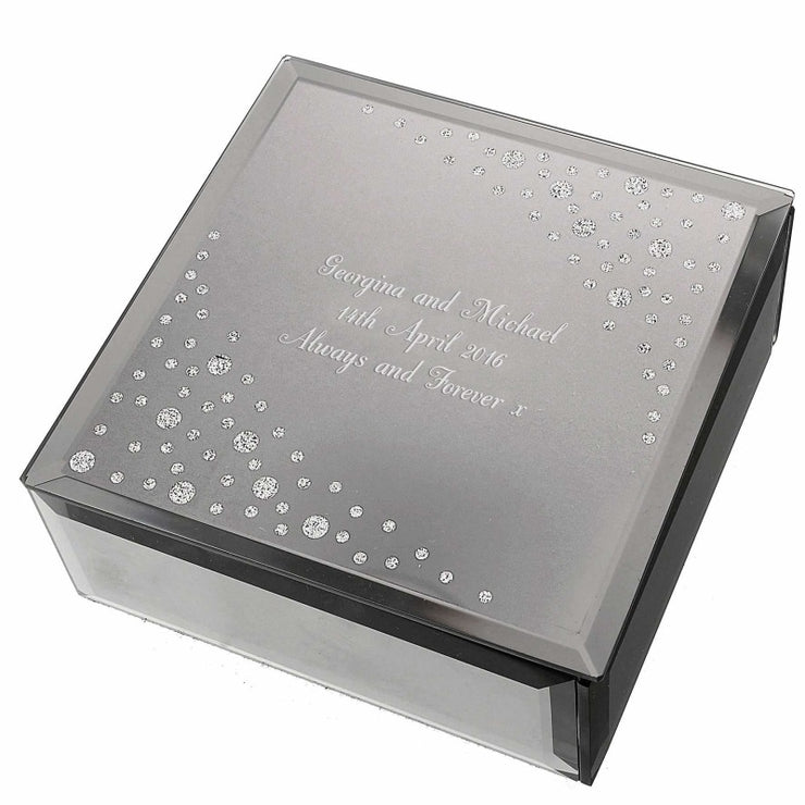 Personalised Any Message Diamante Glass Trinket Box-Trinket Box-Give Personalised Gifts