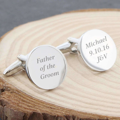 Personalised Any Message Round Cufflinks-Cufflinks-Give Personalised Gifts