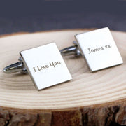 Personalised Any Message Square Cufflinks - 1 line-Cufflinks-Give Personalised Gifts