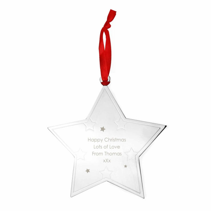 Personalised Any Message Star Tree Decoration-Hanging Decoration-Give Personalised Gifts