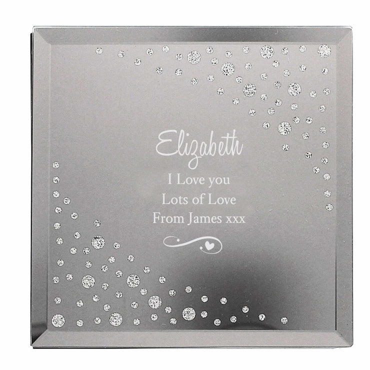 Personalised Any Message Swirls & Hearts Diamante Glass Trinket Box-Trinket Box-Give Personalised Gifts