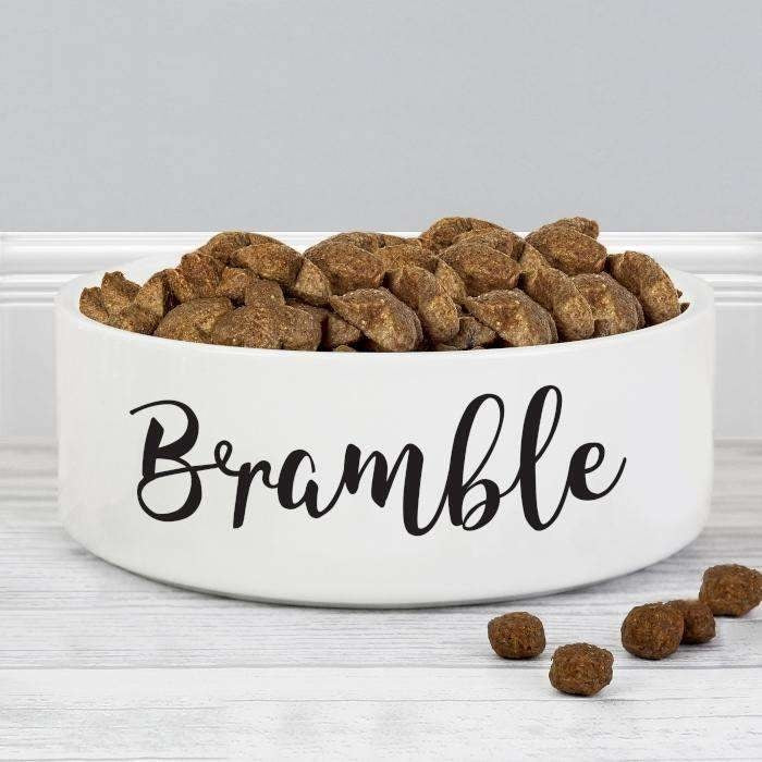 Personalised Any Name 14cm Medium White Pet Bowl-Pet Accessories-Give Personalised Gifts