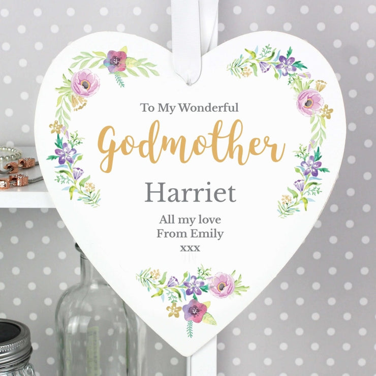 Personalised Any Role 'Floral Watercolour' 22cm Large Wooden Heart Decoration-Hanging Decoration-Give Personalised Gifts